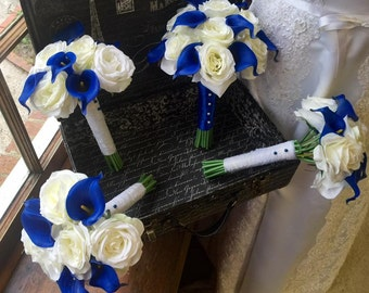 Royal Blue Ivory Rose Wedding Bouquet 17 Piece Set, Royal Blue Bouquet, Horizon Blue Ivory Bouquet, Blue Calla Lily Bouquet Ivory Rose
