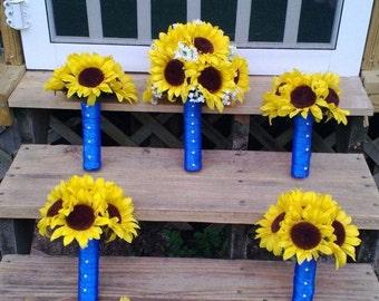 Sunflower Wedding Bouquet 17 Piece Rustic Wedding Flower Set, Yellow Sunflower Bridal Bouquet, Fall Wedding Bouquet, Silk Bridal Bouquet
