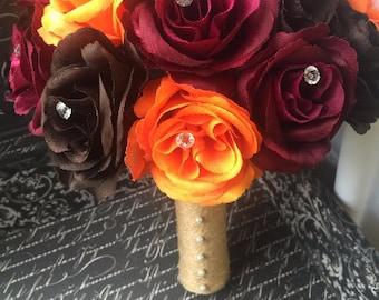 Fall Wedding Bouquet, Fall Bouquet, Brown Bouquet, Burgundy Bouquet, Orange Brown Bouquet, Orange Rose Bouquet, Fall Bridal Bouquet