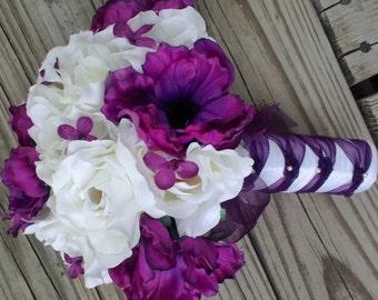 Purple White Bouquet, Purple Anemone Ivory White Rose Wedding Bouquet, Ivory Purple Bouquet, White Purple Wedding, Purple Bridal Bouquet