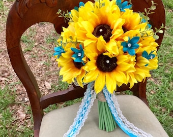 Sunflower Malibu Blue Bouquet, Rustic Wedding Bouquet, Malibu Bouquet, Sunflower Wedding Bouquet, Sunflower Bridal Bouquet, Silk Flowers