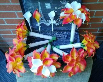 17 piece Burnt Orange Calla Lily Bouquet Wedding Bouquet Set, Real touch bouquet, Ivory Orange bouquet, Vintage Lace Bouquet Fall Bouquet