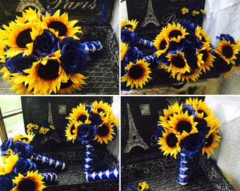 17 piece Sunflower Royal Blue Wedding Bouquet Set, Sunflower Bridal Bouquet, Fake flower set, Rustic Sunflower Bouquet, Blue Bouquet