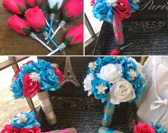 17 Piece Malibu Blue White Hot Pink Rose Wedding Flower Set, Blue Pink Bridal Bouquet, Malibu Blue Bouquet, Hot Pink Bouquet