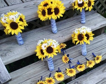 14 piece Sunflower Bouquet Wedding Flower Set, Bridal Bouquet, Sunflower Daisy Bouquet Lace Bouquet Sunflower Wedding Bouquet Rustic wedding