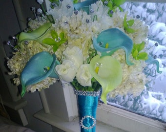Real Touch Blue Green Calla Lily Ivory Bridal Bouquet 17 piece Wedding Flower Set, Green Blue Ivory Bouquet, Calla Lily Bouquet Bridesmaid