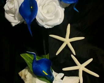 Royal Blue Calla Lily White Rose Wedding Bouquet with Boutonniere Set, Royal Blue White Bouquet Calla Lily Bouquet Blue Wedding Blue