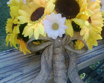 Sunflower Bouquet, Yellow Sunflower Bridal Bouquet, Sunflower Wedding Bouquet Sunflower Burlap Bouquet, Daisy Bouquet, Yellow Bouquet Rustic