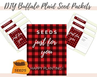 Buffalo Plaid Seed Packet DIY Instant Download, Gardeners DIY Seed Packet Gifts, Garden Gifts, Gardening Gifts, DIY Gardeners
