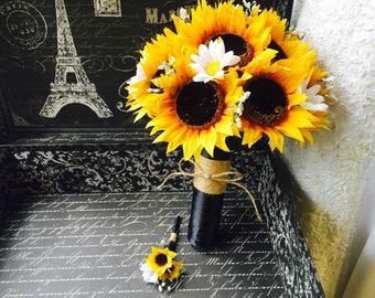 Sunflower Bouquet with Boutonniere, Sunflower Wedding Bouquet, Rustic Wedding, Yellow Sunflower Bouquet, Sunflower Bridal Bouquet Fall