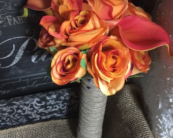 Orange Wedding Bouquet, Orange Rose & Calla Lily Fall Wedding Bouquet, Orange Bouquet, Orange Rose Bouquet, Fall Orange Bridal Bouquet