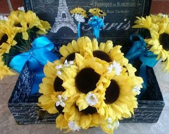 Sunflower Bouquet 10 Piece Wedding Package with Boutonniere & Corsages, Sunflower Bridal Bouquet, Sunflower Wedding Bouquet, Rustic Wedd