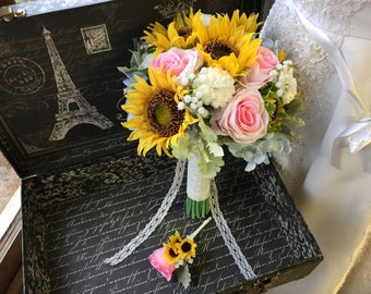 Real Touch Sunflower Wedding Bouquet with Boutonnière, Sunflower Bridal Bouquet, Sunflower Pink Bouquet, Rustic Sunflower Bouquet