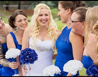 17 Piece Royal Blue & White Rose Wedding Bouquet Set, Royal Blue Bouquet, White Blue Rose Bouquet Royal Blue Wedding, Bridal Bouquet