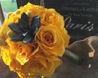 Yellow Gray Wedding Bouquet, Yellow Rose Bridal Bouquet, Yellow Rose Succulent Bouquet, Gray Yellow Bouquet, Yellow billy button bouquet