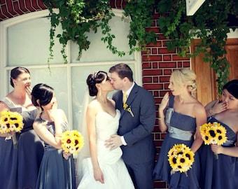 17 Piece Sunflower Wedding Bouquet Set, Daisy Sunflower Bridal Bouquet, Sunflower Bouquet, Rustic Bouquet, Rustic Wedding Yellow Sunflowers