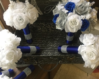 17 piece Royal Blue White Silver Rose Bouquet set, Royal Blue Bouquet, White Rose Bouquet, Royal Blue White Bouquet, Blue White Wedding