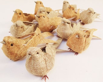 SIX Decorative Artificial Burlap Birds, 6 Bird Ornaments - Wedding Rustic Decor, Christmas Decorations Burlap Ornament Artificial Birds