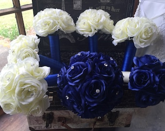 Royal Blue Ivory Rose 17 Piece Wedding Bouquet Set, Royal Blue Bouquet, Ivory Rose Bouquet, Royal Blue Ivory Bouquet, Blue ivory flowers