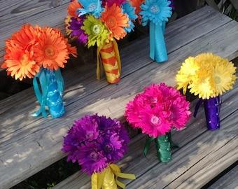 Daisy Bouquet, Yellow Daisy Bouquet, Purple Daisy Bouquet, Fuchsia Daisy Bouquet, Orange Bouquet, Daisy Wedding, Rainbow Daisy Bouquet