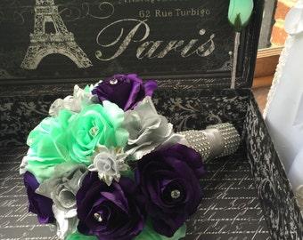 Silver Purple Mint Rose Bridal Bouquet 2 piece Flower Set, Mint Wedding, Silver Bouquet, Mint Bouquet, Purple Bouquet