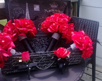 17 Piece Red Rose with Black Feathers Wedding Bouquet Set, Red Rose bouquet, Red Black bouquet, Feather Bouquet Red Bridesmaid