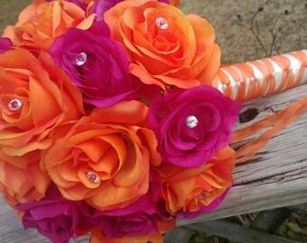 Orange Fuchsia Bouquet, Orange Rose Bouquet, Orange Pink Bridal Bouquet, Orange Fuchsia Wedding, Pink Flower Bouquet, Orange Bridesmaid