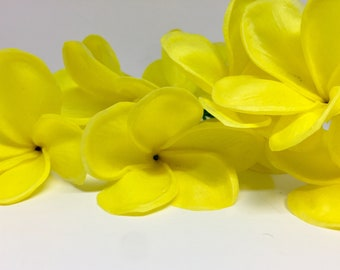Yellow Artificial Real Touch Plumeria Flower, Yellow Fake Flowers, yellow Beach Hair Flowers, DIY yellow Wedding Flowers