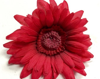 1 Large Artificial Red Daisy Flower, Red Fake Flowers, Red Flower Girl, Red Wedding Decor, Red Flowers DIY, Red daisies, Red Gerbera Daisy
