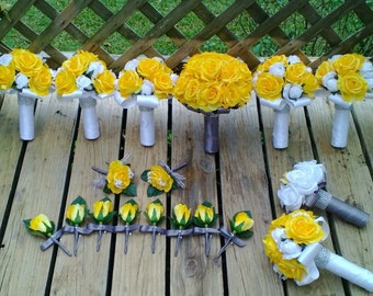 17 Piece Yellow Wedding Flower Yellow Bouquet, Yellow Gray Bouquet, Yellow White Bouquet, Yellow Wedding, Yellow Rose Bridal Bouquet