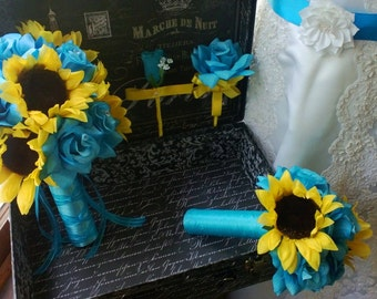 10 piece Sunflower Bouquet Malibu Blue Yellow Sunflower Bridal Bouquet Wedding Bouquet Set, Turquoise Bouquet, Sunflower Wedding Rustic