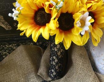 Sunflower Black Lace Wedding Bouquet, Sunflower Bridal Bouquet, Sunflower Lace Bouquet, Sunflower Wedding Bouquet Rustic Bouquet