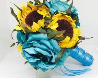Real Touch Sunflower & Turquoise Rose Wedding Bouquet, Malibu Blue Bouquet, Yellow Sunflowers, Bridal Bouquet, Rustic Bouquet