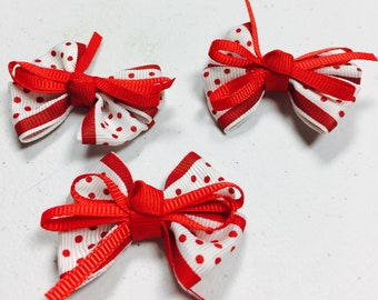 3 Red White Polka Dot Bows, Red White Hair Bow, Baby Hair Bow, Flower Girl Hair Bow, DIY Hairbow, DIY Bows without clips, Bows for Crafts