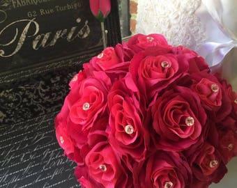 Fuchsia Rose Wedding Bouquet & Boutonniere Set, Fuchsia bridal bouquet Fuchsia Wedding, Fuchsia bouquet, Hot pink bouquet, Fuchsia Flowe