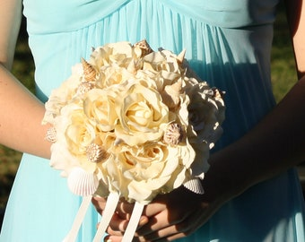 Sea Shell Wedding Bouquet with Ivory Real Touch Roses, Shell Bridal Bouquet, Beach Bouquet, Shell Bouquet, Ivory Bouquet, Beach Wedding