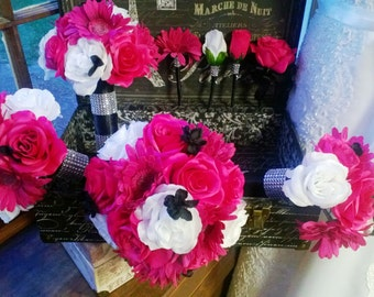 17 Piece Hot Pink White Rose Wedding Bouquet Set, Hot Pink White Bouquet, Pink Black Bridal, Pink Black Bouquet Daisy Pink Black Wedding