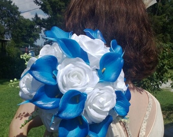 17 piece Royal Blue White bouquet Calla Lily Bouquet Wedding Bouquet Set, Horizon Blue Bouquet, Blue Calla Lily Bouquet, Real Touch Bouquet