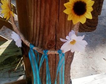Sunflower Daisy Hair Wreath, Flower Girl Hair Wreath, Bridal Hair Wreath, Hair Bow, Flower Girl Bow, Sunflower Hair wreath