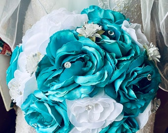 Teal Blue White Rose Real Touch Wedding Bouquet, Blue White Bouquet, Teal Bridal Bouquet, Teal Blue Wedding Bouquet
