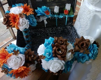 Wedding Bouquet 17 Piece Set Malibu Blue Orange Brown White Rose Flower Set, Malibu Blue Bouquet, Blue Orange Bouquet Brown Fall Bouquet