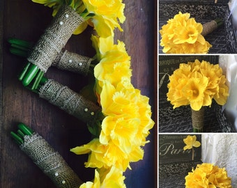 Daffodil Bouquet 17 Pice Wedding Bouquet Set, Yellow Daffodil wedding Yellow Bouquet, Spring Bouquet, rustic Bouquet