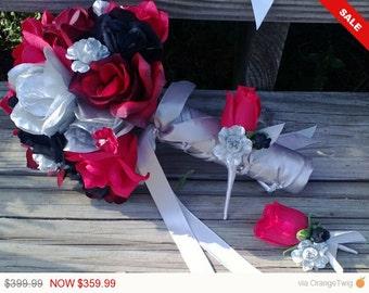 17 Piece Red Black Silver Rose Wedding Bouquet Set, Red Bouquet, Red Black Bouquet, Red Silver Bouquet, Red Black Wedding Red Rose Bridal