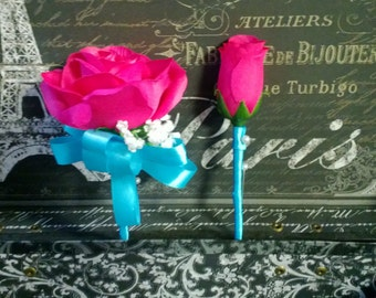 Hot Pink Rose Corsage & Boutonniere Set, Hot Pink Corsage, Bridesmaid Hot Pink Boutonniere Rose Boutonniere, Bridal Hot Pink Wedding Bou