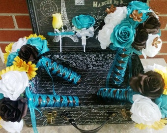 17 Piece Turquoise Malibu Blue Yellow Brown White Wedding Bouquet Set, Malibu Blue Bouquet Fall Wedding Turquoise Brown Bouquet Teal Bouquet