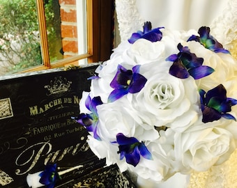 Real Touch Blue Orchid & White Rose Wedding Bouquet with Boutonniere, Blue Orchid Bouquet, White Blue Bouquet, White Royal Blue Bouquet