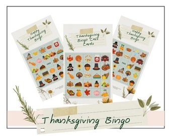 Thanksgiving Bingo Digital Printable, 10 Card Bingo Set, Thanksgiving Bingo, Kids Games, Fall Class Activity, Kid's Bingo