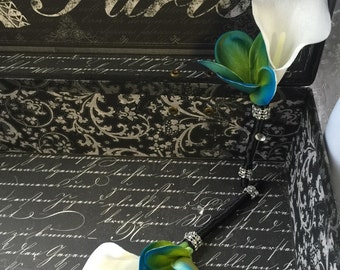 Boutonniere Set, Malibu Blue White Boutonnière, Calla Lily Boutonnieres, Plumeria Boutonnieres, Real Touch Boutonnieres, Mens Flowers grooms
