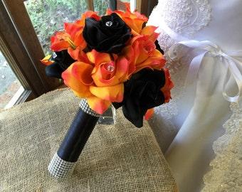 Orange Black Wedding Bouquet, Halloween Bouquet, Orange Black Bouquet, Fall Wedding Bouquet, Halloween wedding, Orange Bouquet Orange bridal