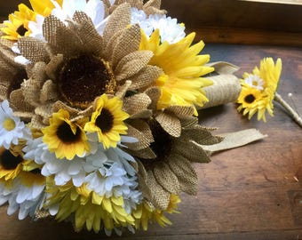 Burlap Sunflower Wedding Bouquet with Boutonniere, Sunflower Bridal Bouquet, Rustic wedding Bouquet, Daisy Bouquet, Yellow White Bouquet,
